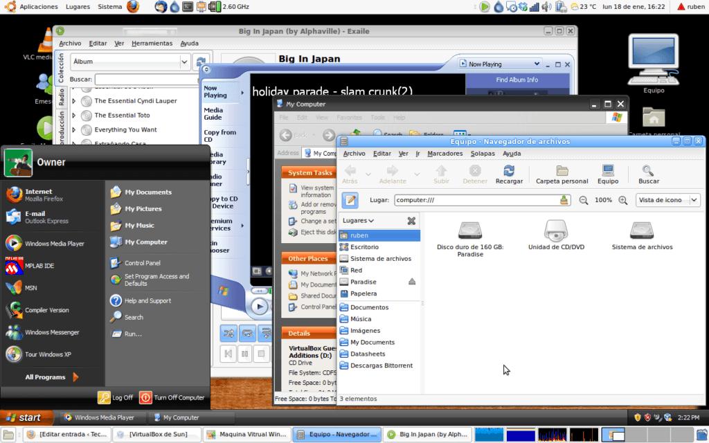 Aspecto del área de trabajo de ubuntu con el modo fluido de Virtual Box