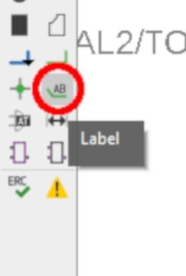 """Seleccionamos la herramienta """"label"""" de la barra de herramientas lateral."""