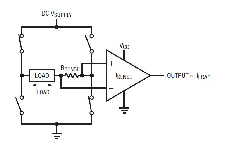 Sensado de corriente bidireccional y la distribución de los elementos de sensado.