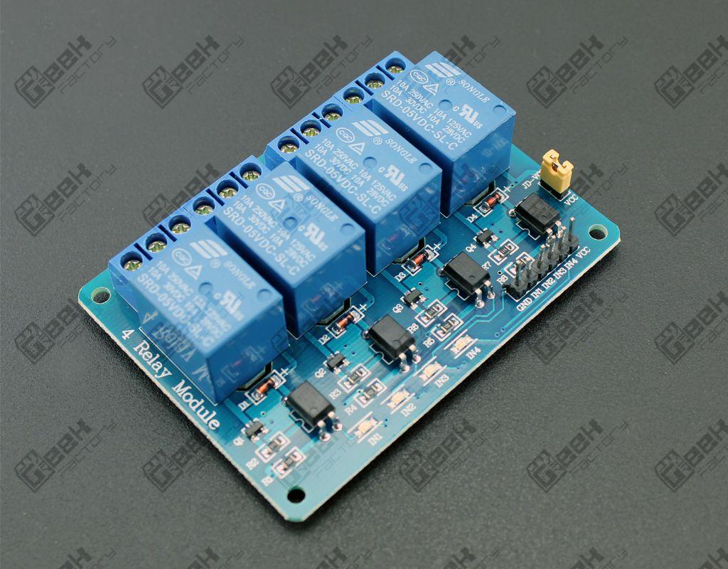 Circuito Optoacoplador : Módulo de 4 relevadores con optoacoplador geek factory