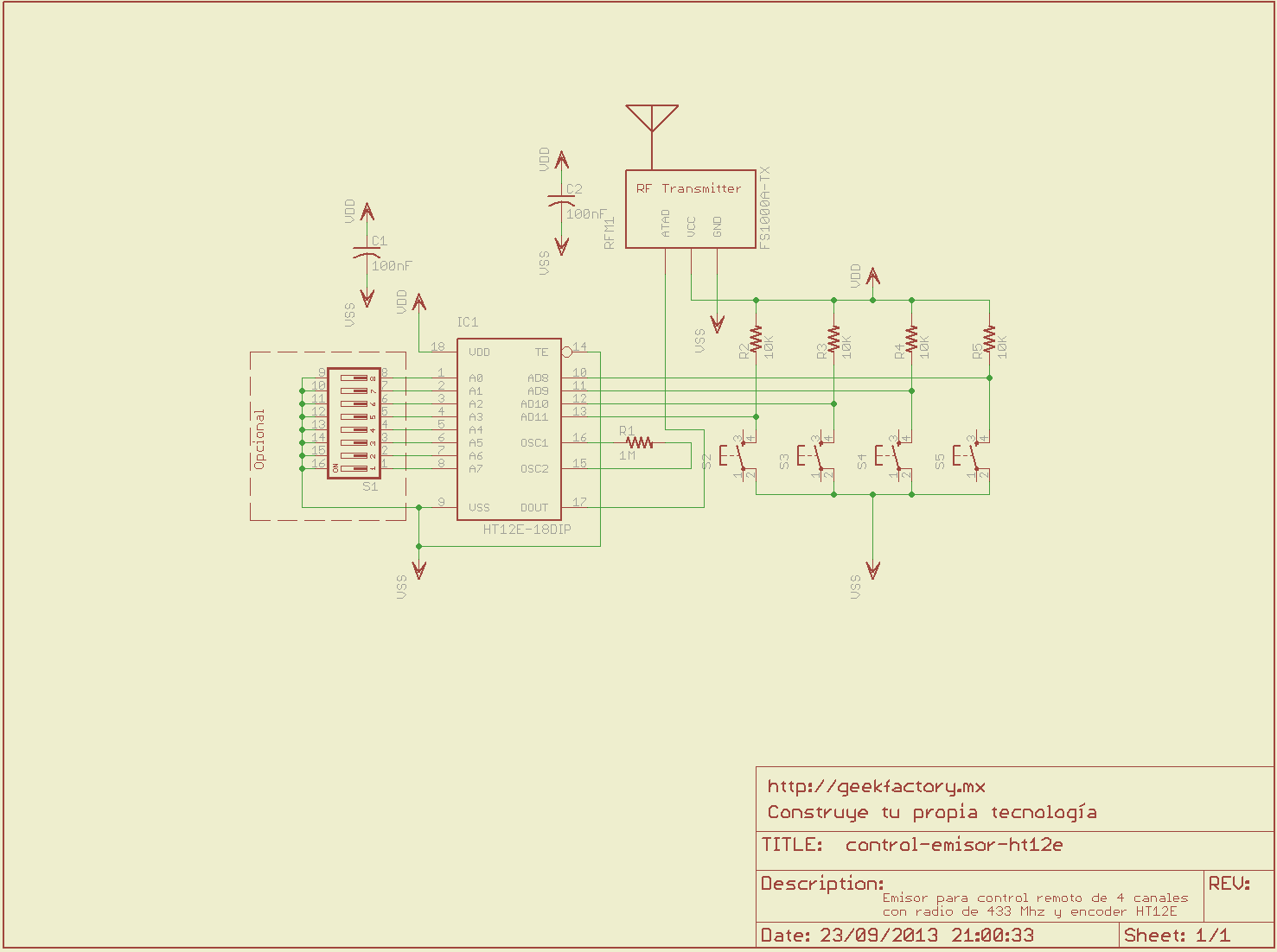 Circuito De Radio Control Sencillo A 433 Mhz on led circuit diagrams