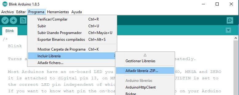 Programa > Incluir librería > Añadir librería ZIP