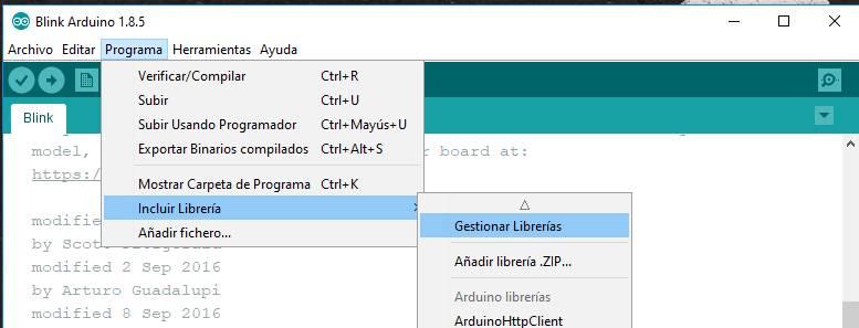 Programa > Incluir Librería > Gestionar Librerías