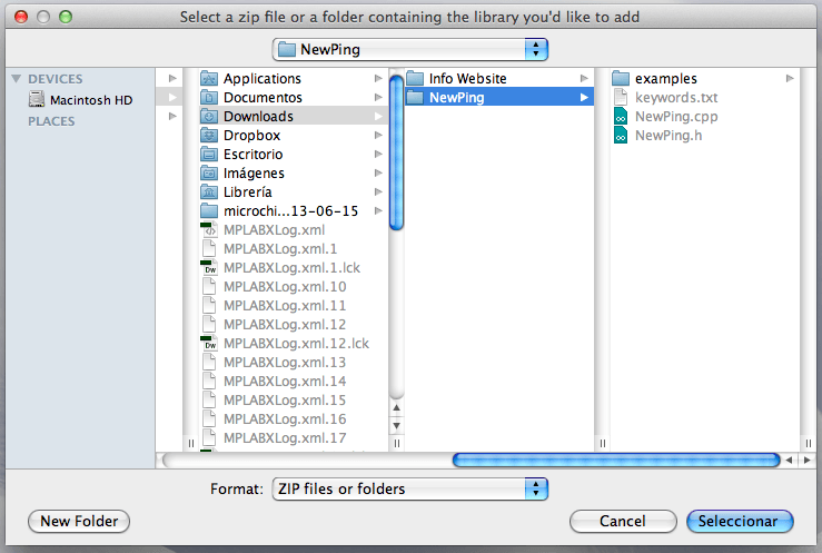Seleccionar el archivo ZIP de la librería