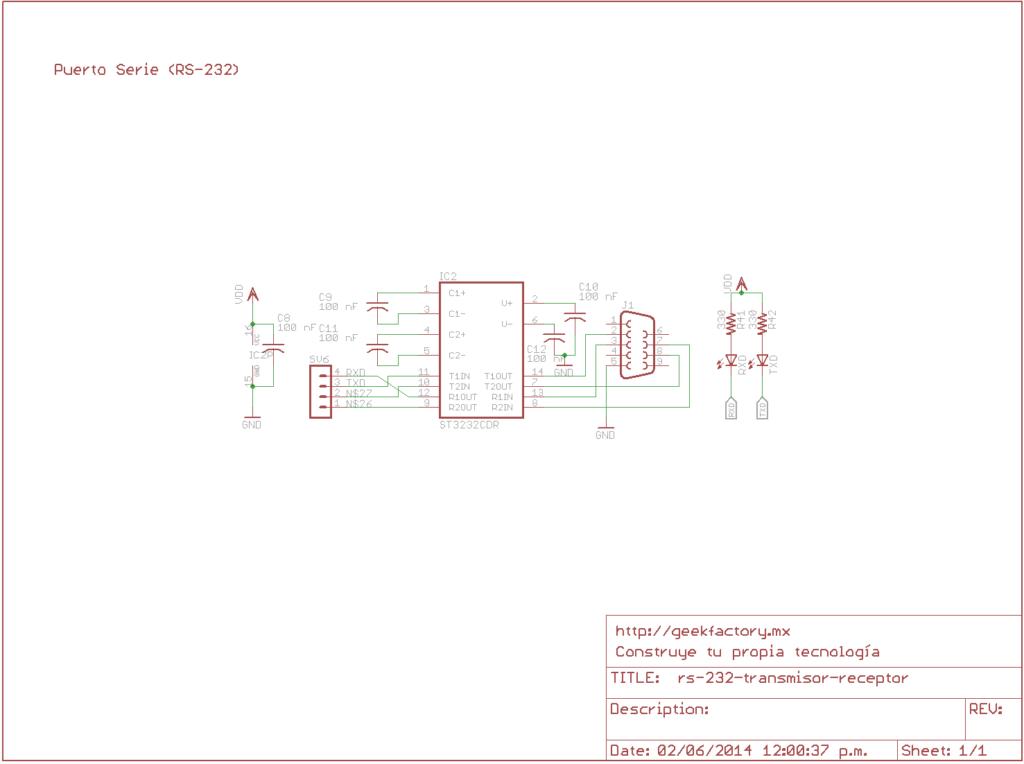 Circuito de Interfaz RS232 con MAX3232 o similar (MAX323, ST3232, etc).
