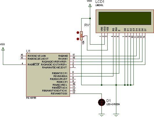 Diagrama de conexion pantalla LCD 16x2 con PIC modo 4 bits