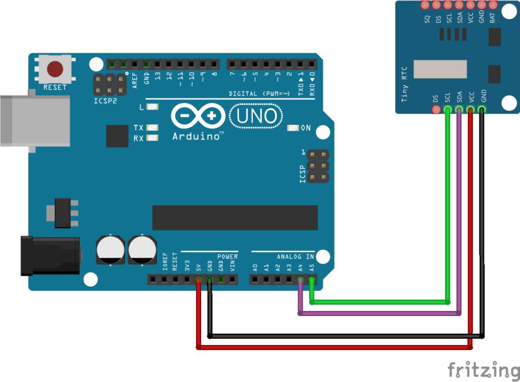 ds1307 con arduino. Tinyrtc diagrama de conexion