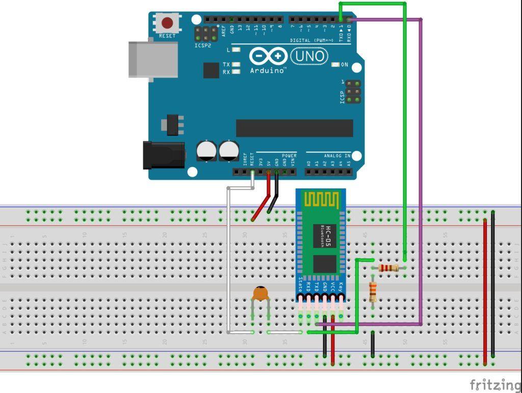 Circuito para la programación inalámbrica de Arduino por Bluetooth