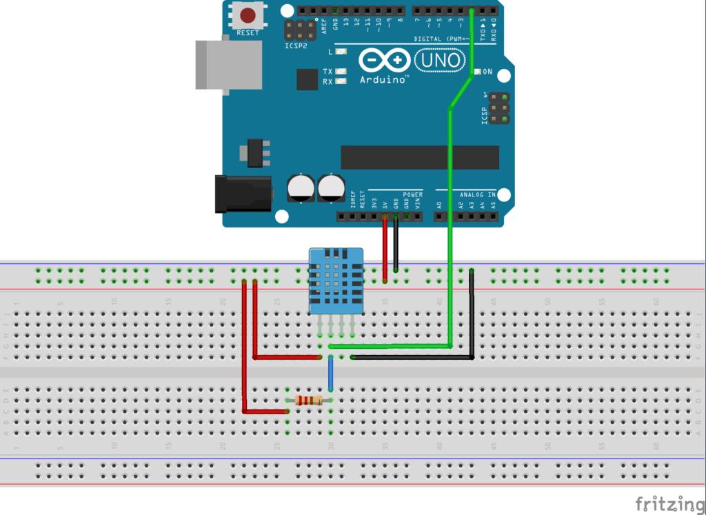 Diagrama de conexión DHT11 con arduino