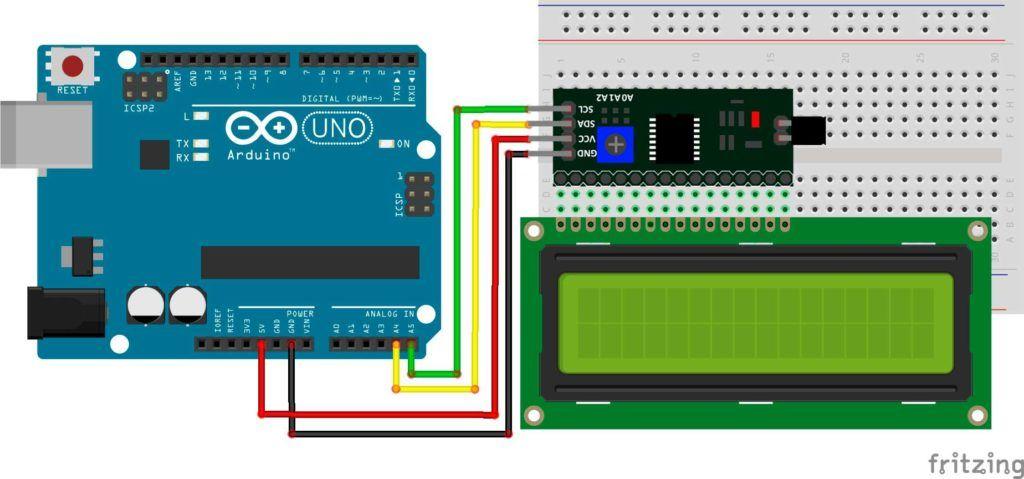 LCD 16x2 por I2C con Arduino: Diagrama de conexión