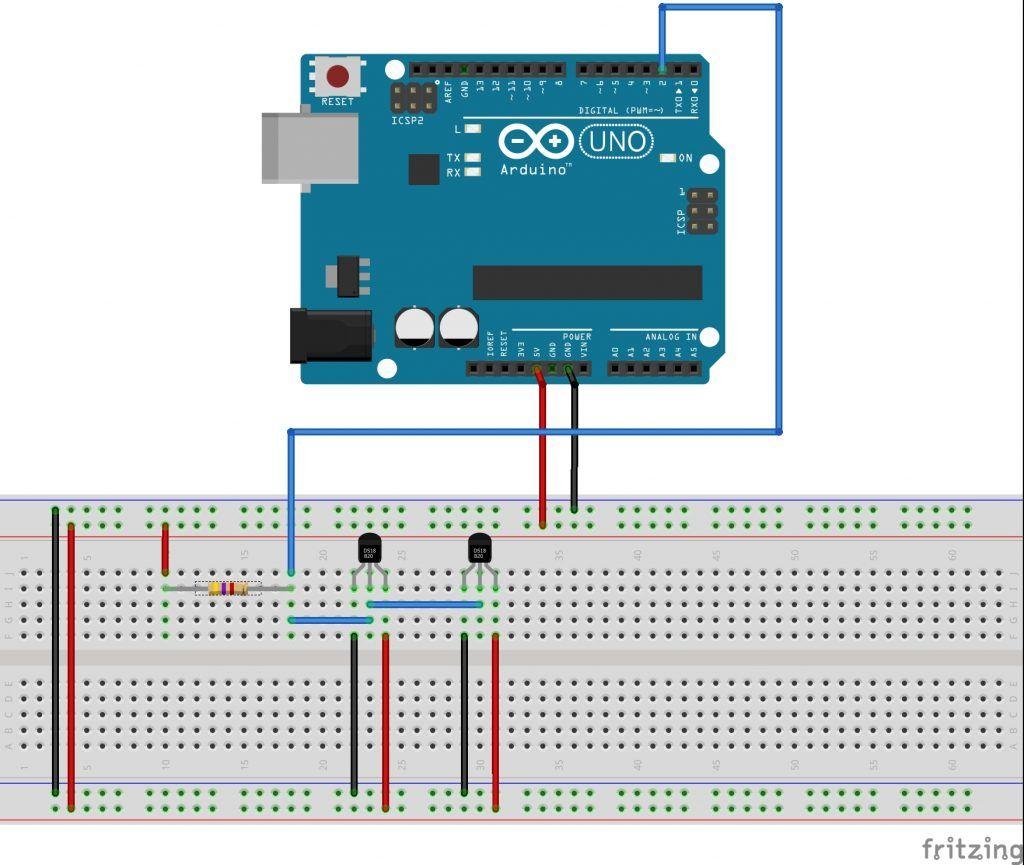 conexion ds18b20 con arduino varios sensores