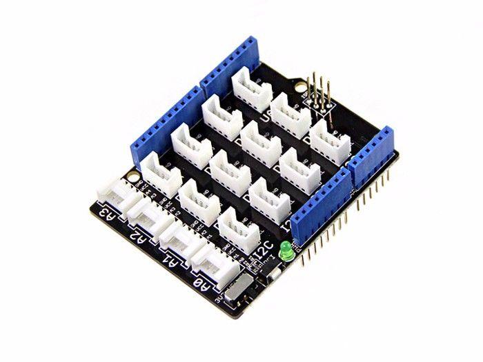 Shield para módulos grove diseñada para montarse en las tarjetas Arduino. Si ya tenemos una placa arduino, este accesorio permite realizar conexiones con modulos grove.