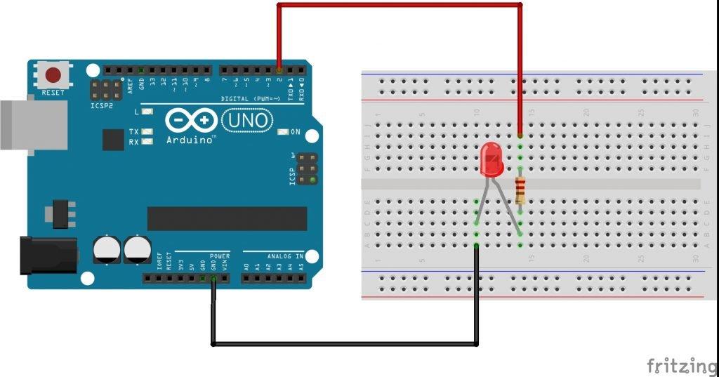 Conectar un led a tu Arduino para que encienda al escribir un estado alto en el pin correspondiente.