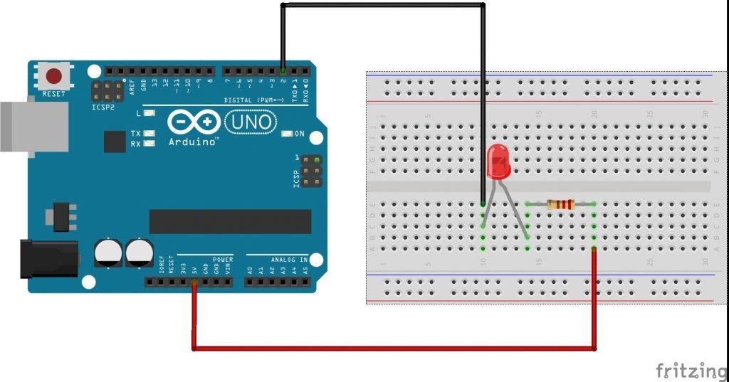 Conectar un led a tu Arduino para que encienda al escribir un estado bajo en el pin correspondiente.