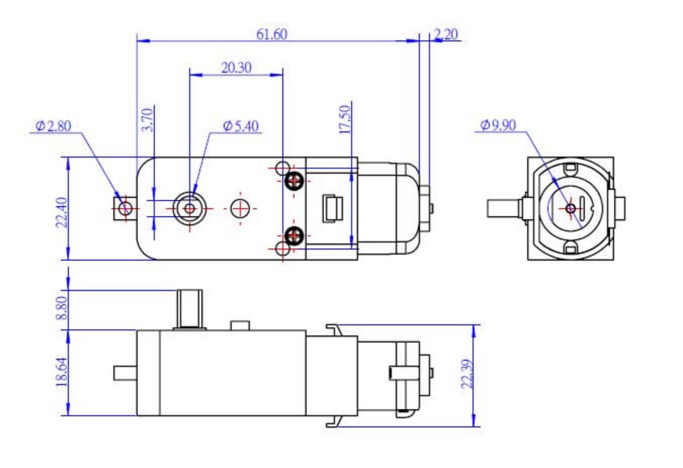 Motorreductor amarillo 48:1 alimentación de 3 a 9 volts - Dibujo técnico con dimensiones