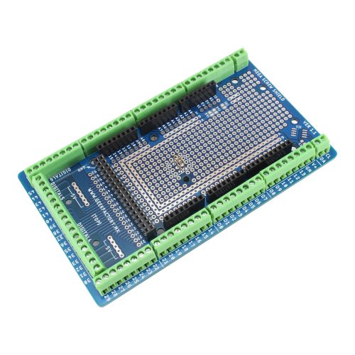Shield de borneras para Arduino Mega con montaje en riel DIN